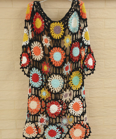 Boho Crochet Beach Dress Women Bohemian Bikini Cover Up Multicolored