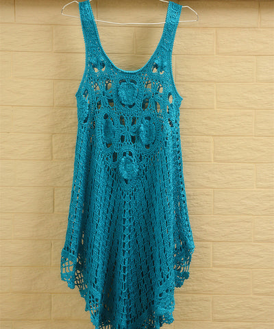 Designer Crochet Tank Dress Women Bohemian Clothing