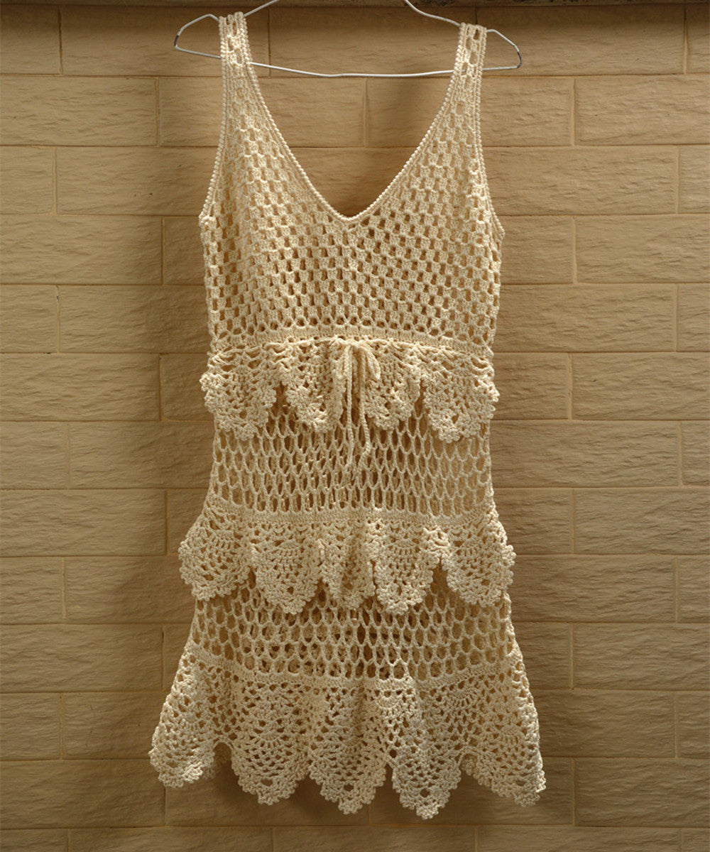Crochet Beach Dress Women Bohemian Tunic Tank Dresses