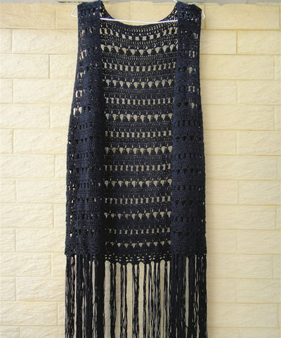 Black Fringe Crochet Vest Women Bohemian Festival Clothing