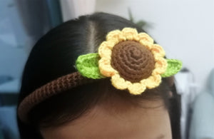 Crochet Flower Hair Hoop Girl Sunflower Crown Floral Festival Party Hair Band Kids Gifts Hair Accessories
