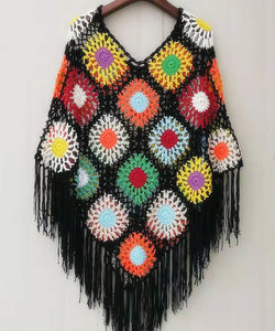 Flower Granny Square Crochet Poncho Sweater Coat Women Boho Clothing