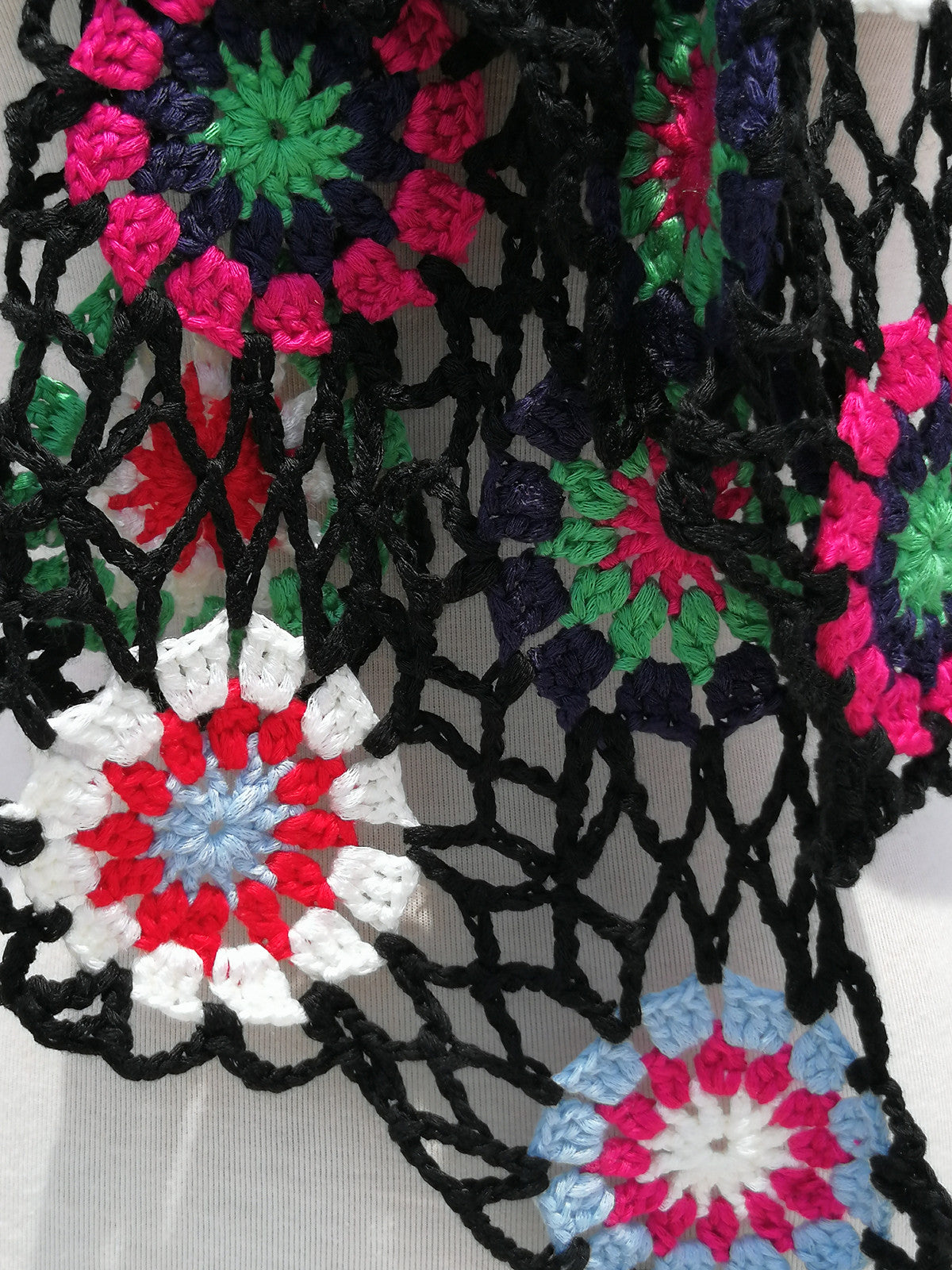Granny Square Crochet Flower Scarf Women Boho Clothing