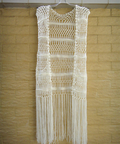 Long Fringe Crochet Vest Women Bohemian Hippe Festival Clothing