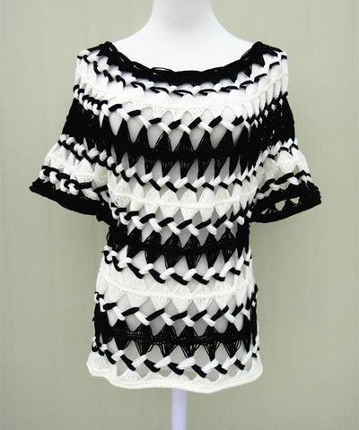Black and White Striped Bohemian Women Crochet Blouse Boho Chic Gypsy Clothing