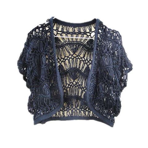 Black Haripin Crochet Bolero Jacket Hippie Cropped Cardigan Women Bohemian Chic Festival Clothing