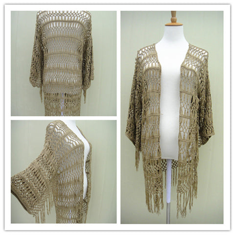 Short Sleeve Bohemian Fringe Long Crochet Cardigan  Beach Cover Up Women Boho Chic Clothing