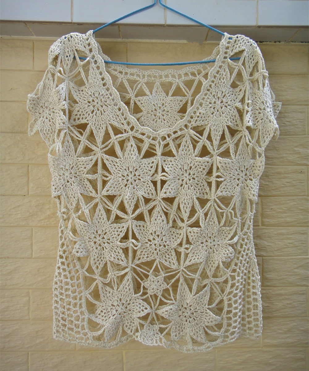 Crochet Flower Blouse Women Boho Clothing