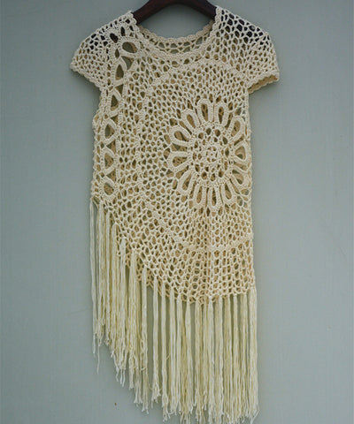 Hippie Fringe Crochet Mandala Blouse Top Cap Sleeve Summer Beach Cover Up Women Boho Chic Clothing