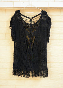 Open Back Hippie Fringe Crochet Women Blouse Top Boho Chic Clothing