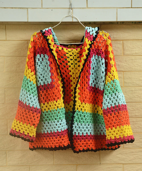 Plus Size Hooded Granny Square Crochet Cardigan Coat Bohemian Chic Women Fashion Clothing