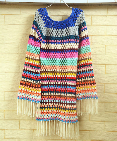 Boho Granny Square Crochet Fringe Dress