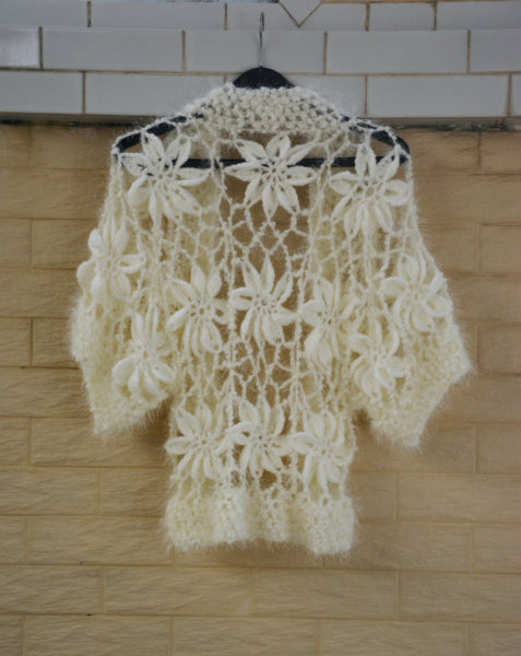 Boho Crochet Flower Cardigan Sweater Short Sleeves