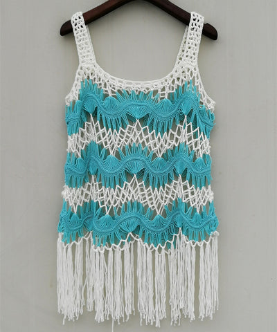 Boho Crochet Vest with Fringe Beach Bikini Cover Up Women Festival Clothing