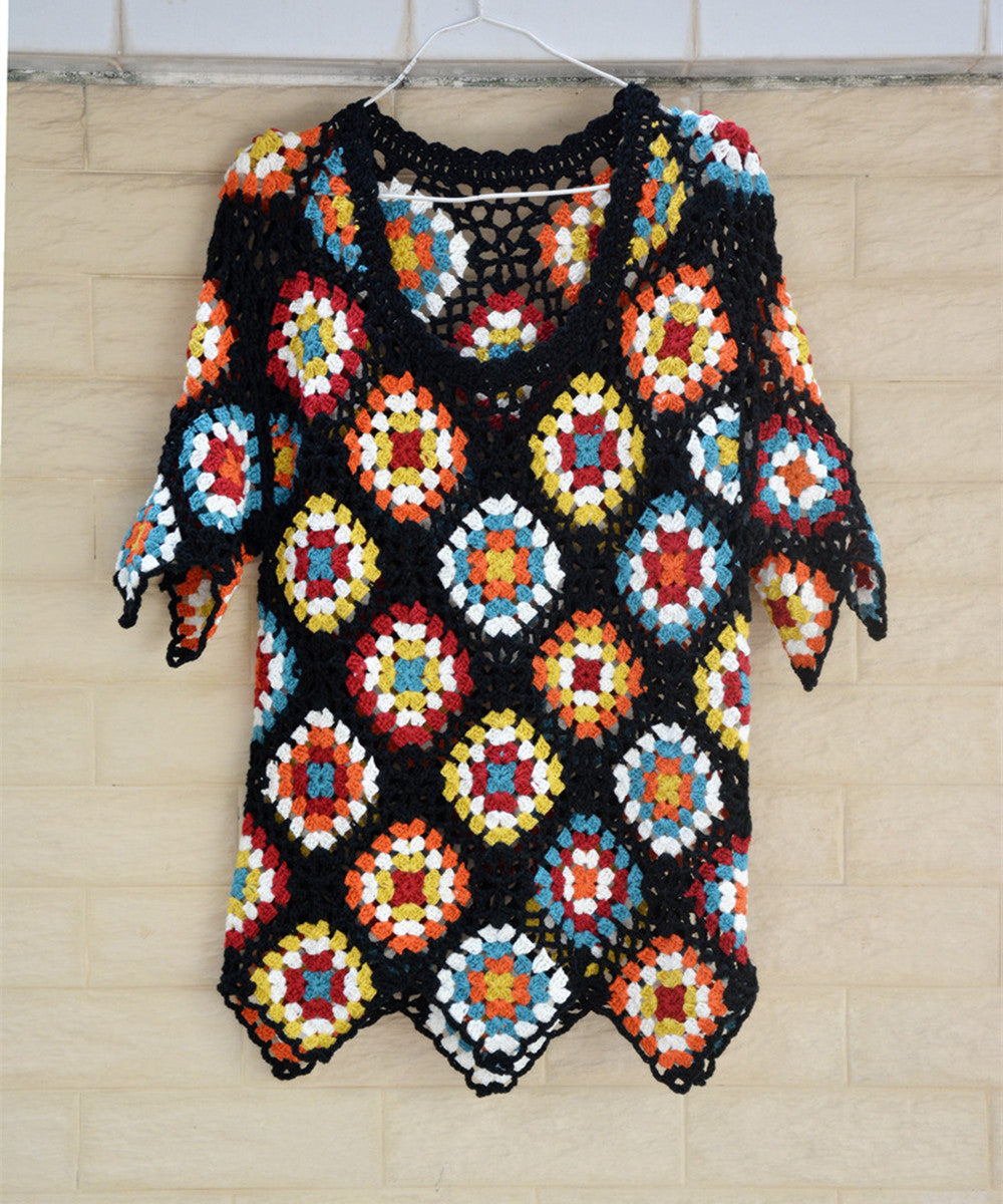 Short Sleeve Granny Square Crochet Sweater Bohemian Women Clothing