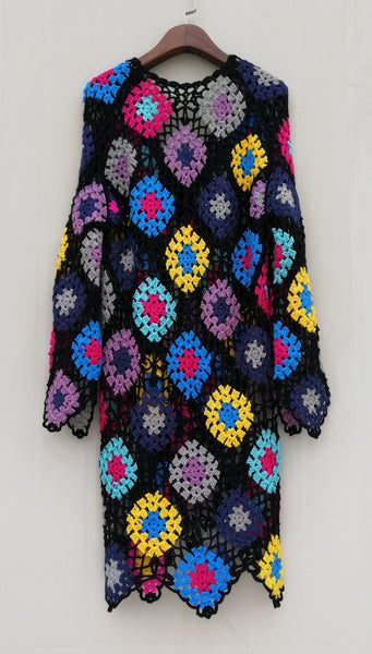 Tie Front Granny Square Crochet Cardigan Coat Bohemian Chic Women Fashion Clothing