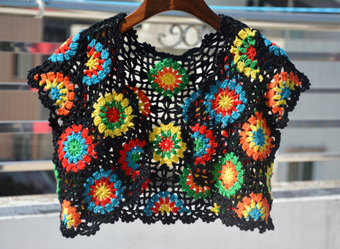 Granny Square Crochet Jacket Cropped Vest Women Bohemian Gypsy Chic Hippie Festival Clothing