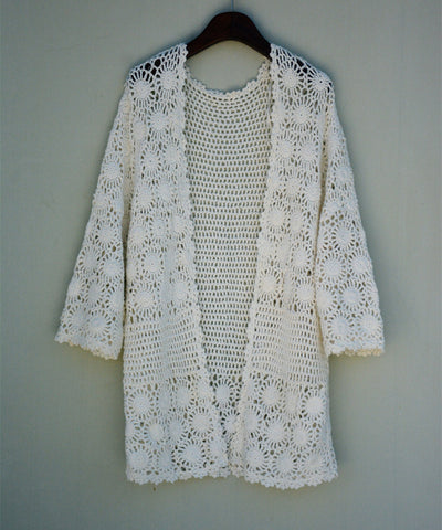 Hippie Crochet Cardigan Coat Long Sleeves Boho Chic Gypsy Women Fashion