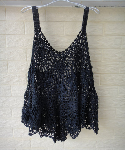Plus Size Black Crochet Vest Women Bohemian Festival Clothing