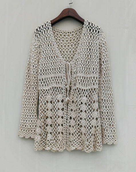 Boho Tie Front Crochet Cardigan Sweater Long Sleeves
