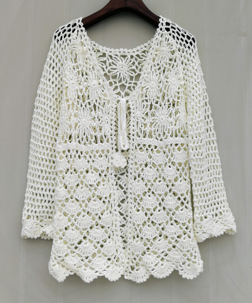 Tie Front Boho Women Long Sleeve Crochet Cardigan Sweater