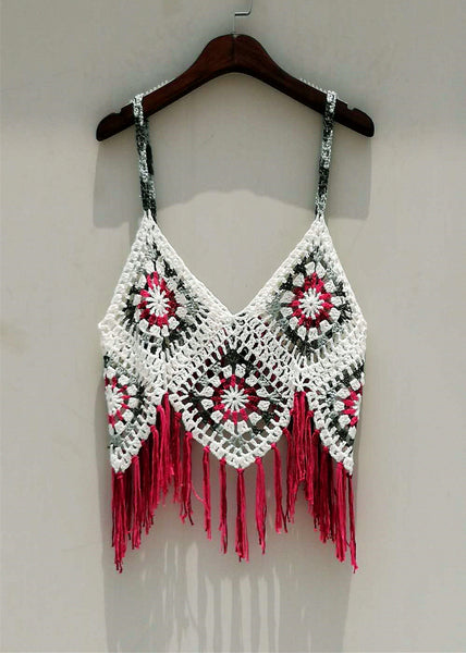 Boho Granny Square Crochet Vest Beach Bikini Cover Up Women Festival Clothing