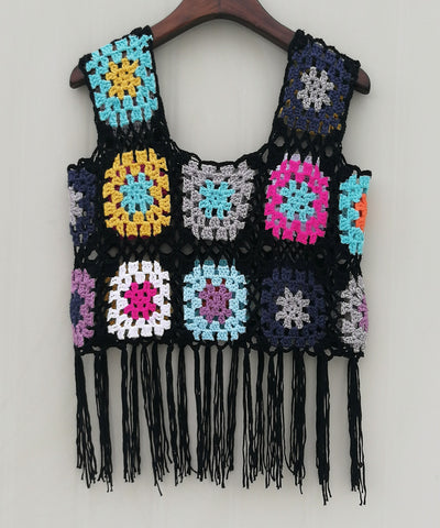 Granny Square Crochet Tank Top Hippie Fringed Beach Bikini Cover Up Boho Women Festival Clothing