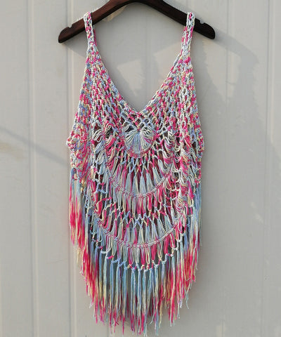 Plus Size Fringe Crochet Vest Hippie Women Bohemian Festival Clothing Tie Dye Summer Beach Cover Up