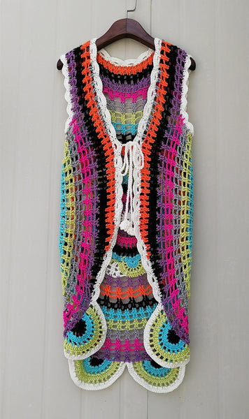 Boho Long Mandalas Crochet Sleeveless Cardigan Tie Front Vest Sweater Multicolored Flower Sweater