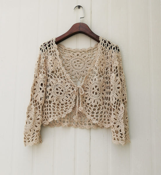 Tie Front Crochet Cropped Cardigan Women Long Sleeve Crop Top Bolero Jacket Bohemian Festival Clothing