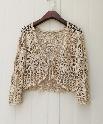 Crochet Bolero Jacket Tie Front Women Long Sleeve Crop Top Cardigan Bohemian Festival Clothing