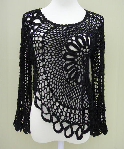 Bohemian Black Crochet Blouse Women Boho Chic Gypsy Clothing