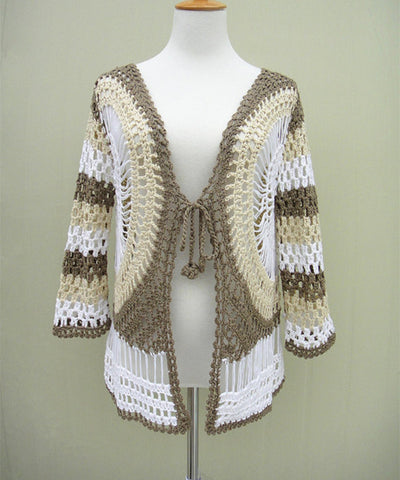 Boho Tie Front Crochet Cardigan Sweater Long Sleeves Bohemian Women Clothing