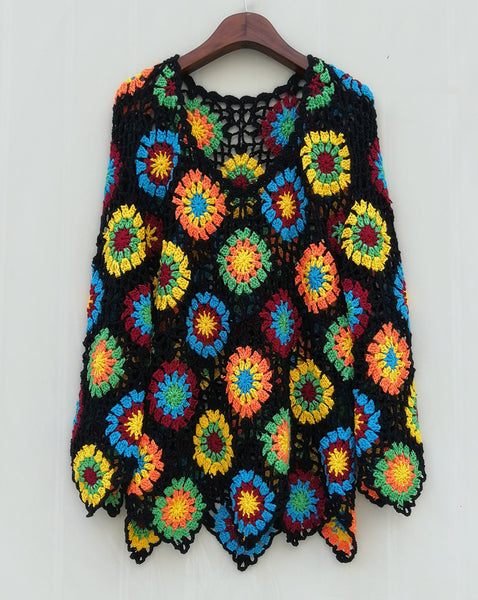 Granny Square Crochet Sweater Top Multicolored Long Sleeve Women Bohemian Clothing