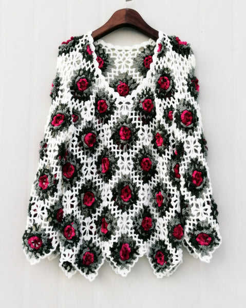 Granny Square Crochet Flower Sweater Top Multicolored Long Sleeve Women Bohemian Clothing