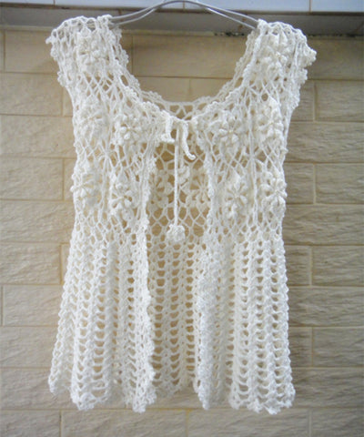 Tie Front Sleeveless Crochet Cardigan Sweater Beaded Flower Top Bohemian Women Clothing