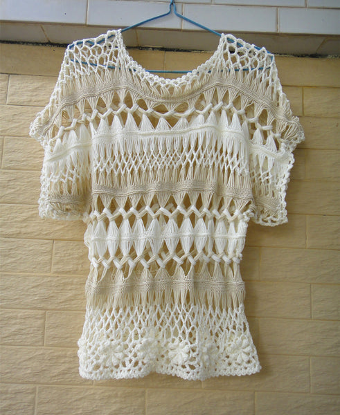 Boho Short Sleeve Crochet Flower Blouse Women Bohemian Clothing