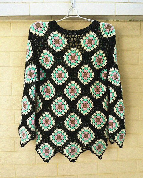 Granny Square Crochet Sweater Long Sleeve Blouse Women Bohemian Festival Clothing