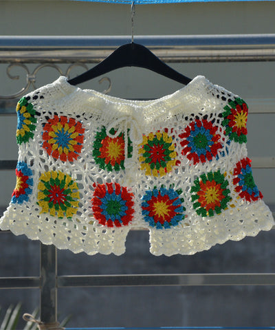 Crochet Flower Granny Square Beach Shorts