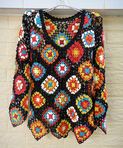 Granny Square Crochet Sweater Bohemian Women Clothing