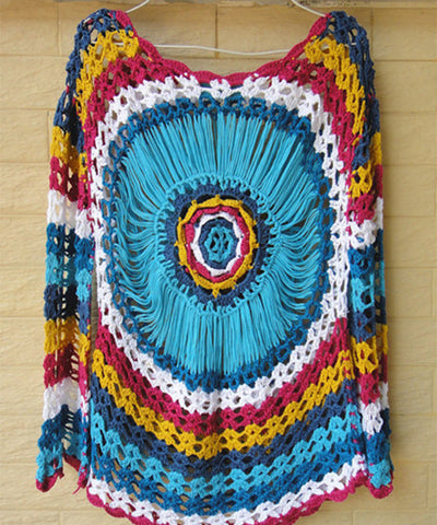 Bohemian Crochet Blouse Long Sleeve Mandala Top Bright Color Summer Beach Cover Up Women Boho Clothing