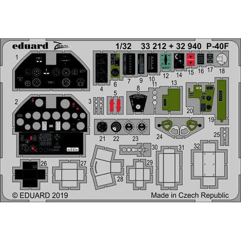 Eduard 33212 1/32 P-40F Photo-etch set (Trumpeter)