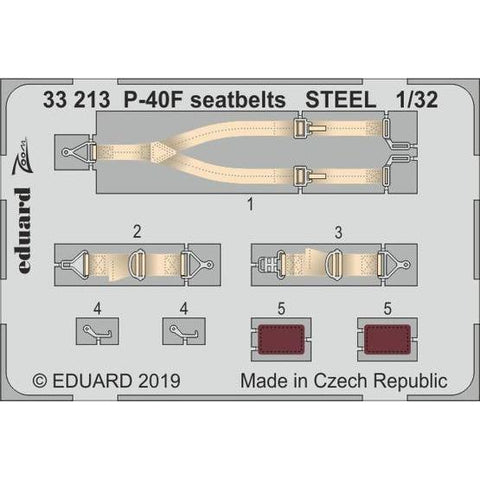 Eduard 33213 1/32 P-40F seatbelts STEEL Photo-etch set (Tru