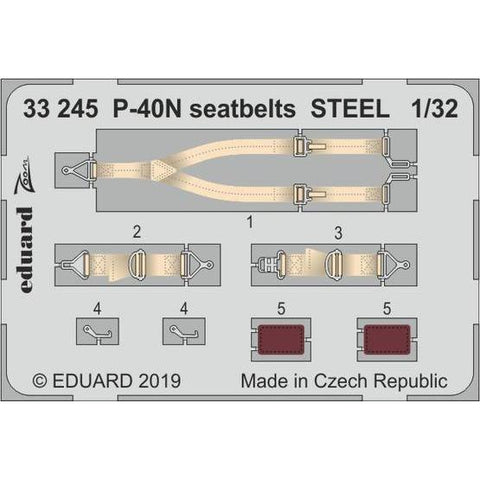 Eduard 33245 1/32 P-40N seatbelts STEEL Photo etched parts