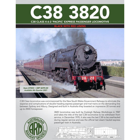 ARM HO C38 Class 4-6-2 'Pacific' Express Passenger Locomotive #3820