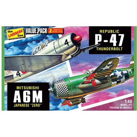 "1/48 2 pack WWII Adversaries P-47 Thunderbolt & Japanese ""Zero"""