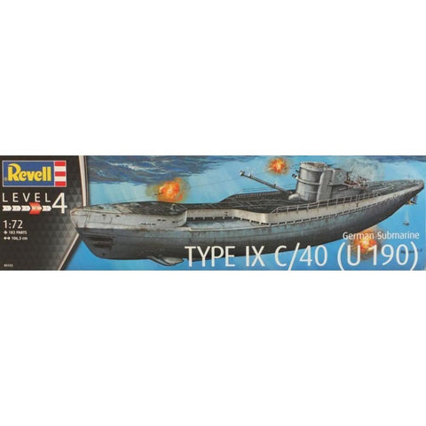 REVELL 1/72 German Submarine Type IX C/40 (U190)