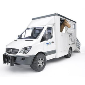 BRUDER MB Sprinter Animal Transporter incl 1 Horse 1/16