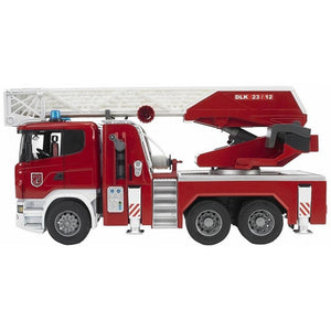 BRUDER 1/16 Scania R-Series Fire Engine, Slewing Ladder, Water P