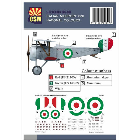 COPPER STATE MODELS DECAL Nieuport XVII, Italian National c